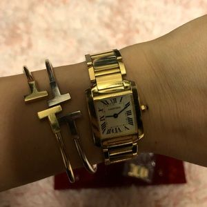 18K Gold Cartier Tank Francaise Ladies Watch
